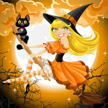 Beautiful witch and her black cat familiar flying on a broomstick on Halloween sky stock vector