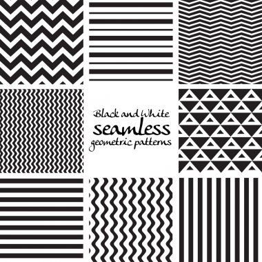 Set of black and white seamless geometric patterns