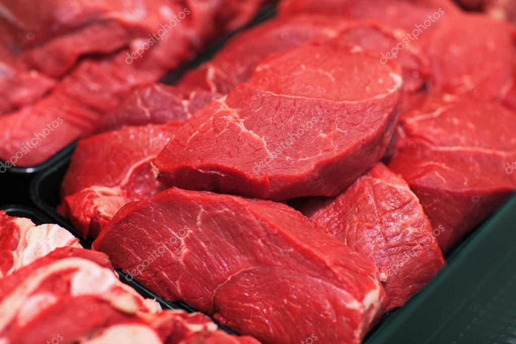 Raw meat in hypermarket