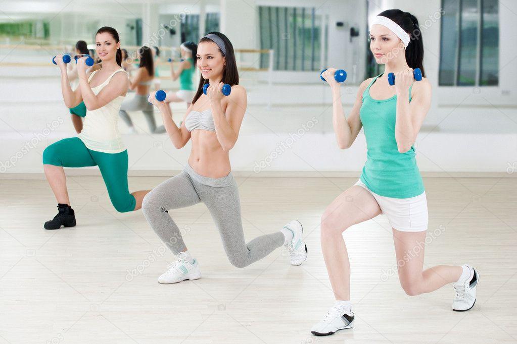Three girls in fitness club