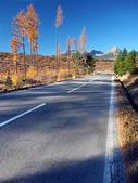 strada per Alti Tatra da strba in autunno