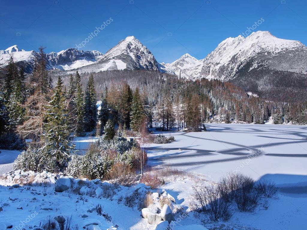 Frozen Strbske Pleso in High Tatras in winter