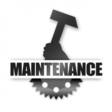 Maintenance metal sign with hammer and gearwheel on white background stock vector