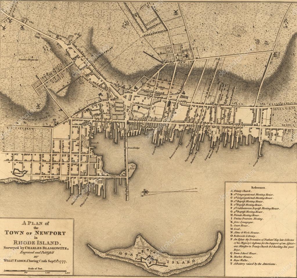 Karta Over Staden Av Newport Rhode Island 1777 Stockfotografi