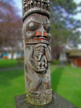 Totem pole carved from cedar