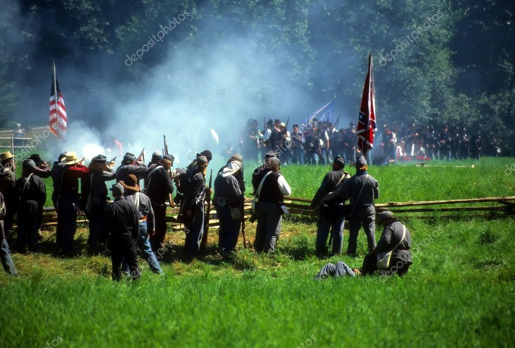 Confederates volley fire