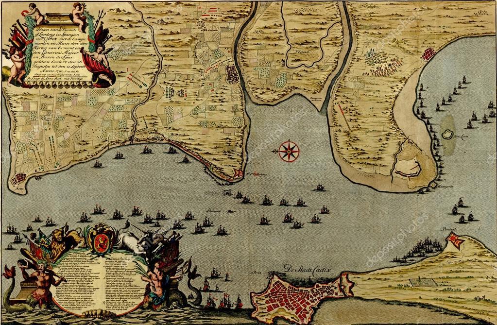 Map Of Spain Cadiz.Antique Map Of The Battle Of Cadiz 1701 In Spain Stock Photo