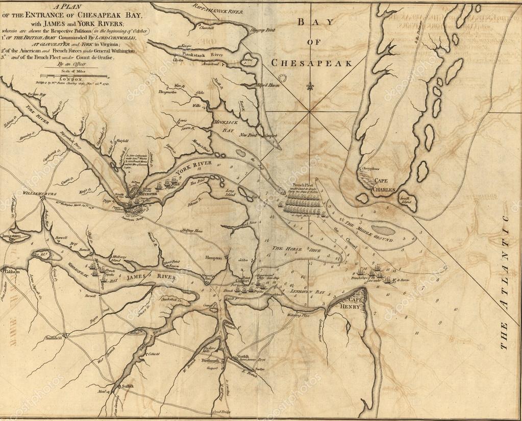 Karta Over Sjo Atgarder I Cheasapeake Bay 1781 Stockfotografi