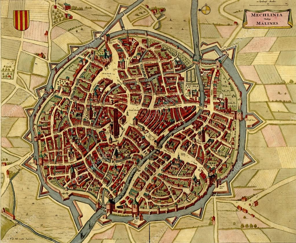 Antique map of Mechelen Malines in Belgium Stock Photo cascoly