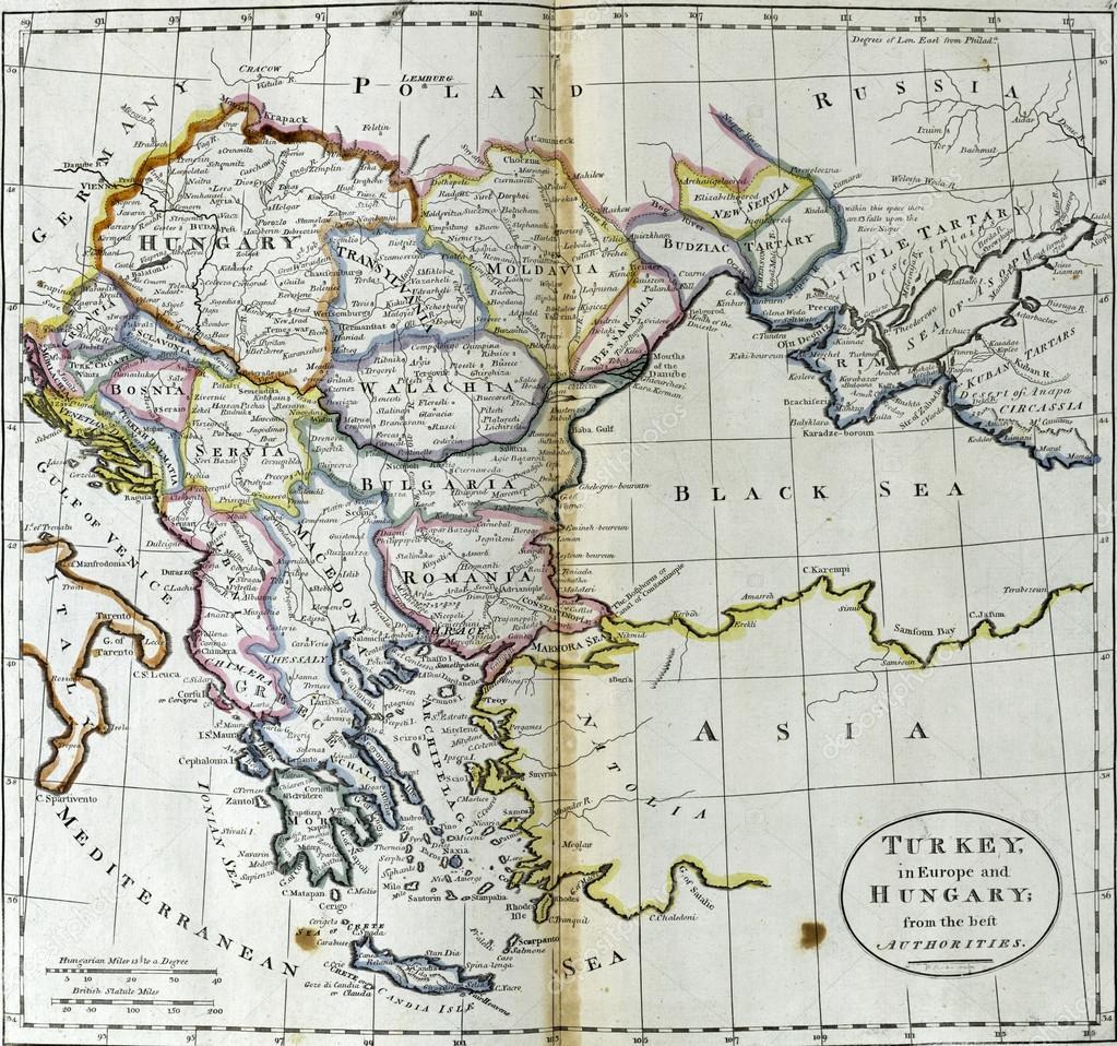 Karta Europa Turkiet.Antika Karta Over Turkiet I Europa Och Ungern Stockfotografi