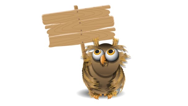 sova a dřevěná deska