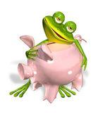 Fotografia rana verde con salvadanaio