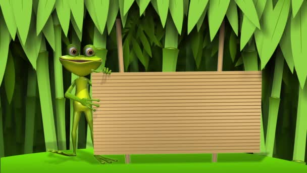 Frog with wooden background