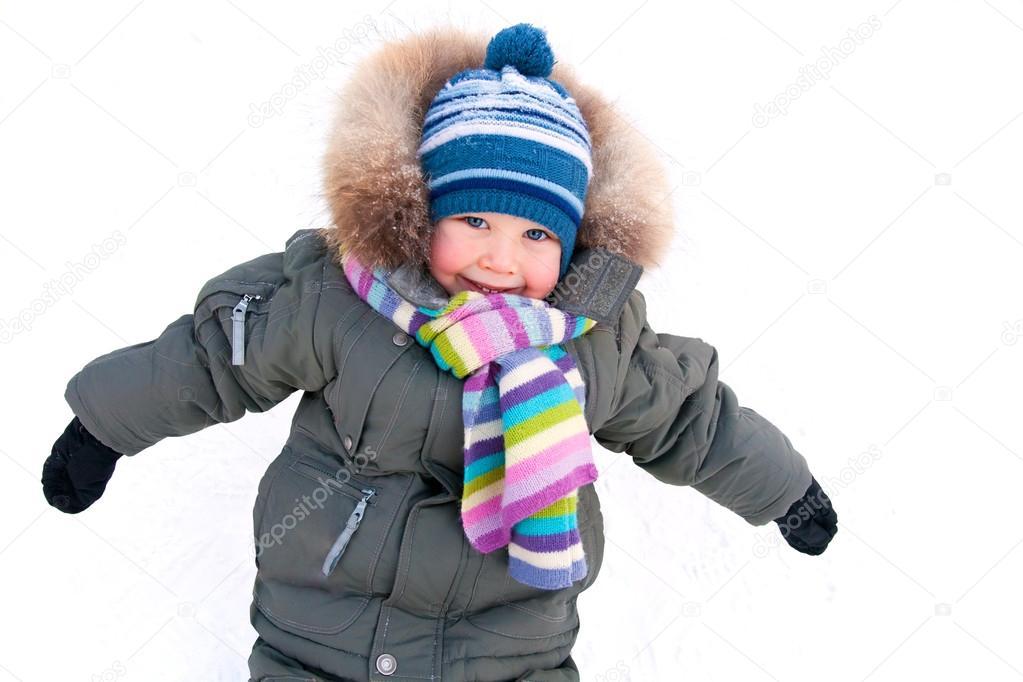 little boy in winter