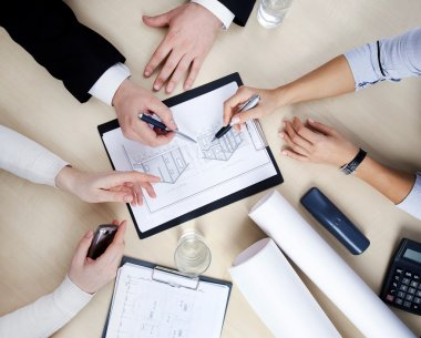 Hands of business at the table at the meeting in the office. top view stock vector