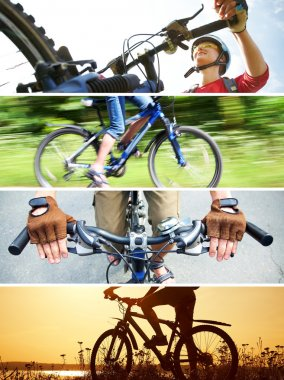 Collage of photographs on the theme of cycling recreation