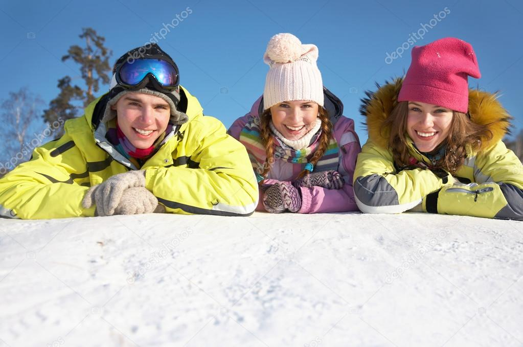 Friends on winter resort