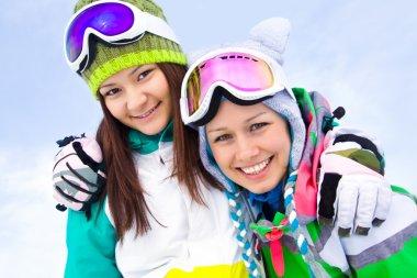 Girlfrieds in ski resort