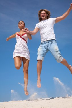 Happy couple in jump