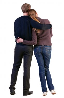 Back view of young couple (man and woman)