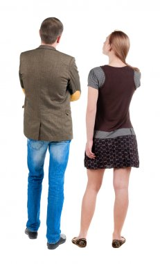 Back view of young couple looking away