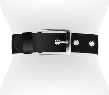 Dark leather belt on waist