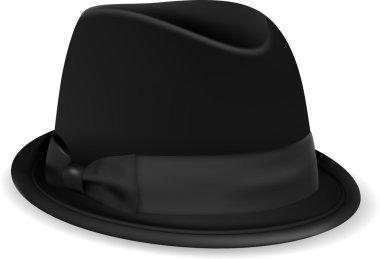Black bowler hat.