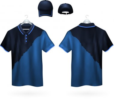 Set of two-color Polo shirts and caps