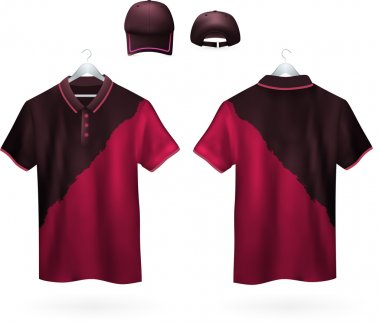 Two-color Polo shirts and caps for men.