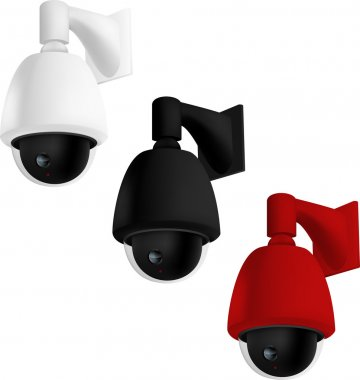 Security cameras mounted on wall