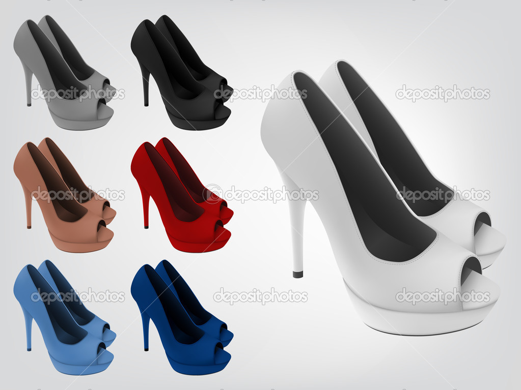 high heeled blank shoes template stock vector barghest 42488377