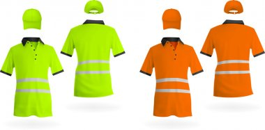 Safety reflective polo shirts and hats stock vector