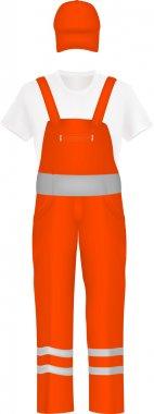 Orange coverall uniform set.