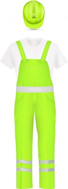 Neon yellow coverall and safety hat.