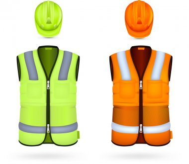 Safety vests and hardhats. stock vector