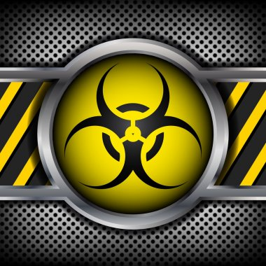 Biohazard sign on a metal background