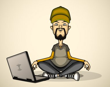 User in gray shirt and cap with a laptop meditates