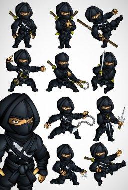 Set of 11 Ninja poses in a black suit