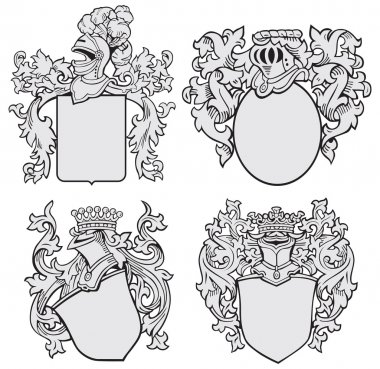 Vector image of four medieval coats of arms, executed in woodcut style, isolated on white background. No blends, gradients and strokes. stock vector