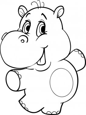 Outline cartoon hippopotamus