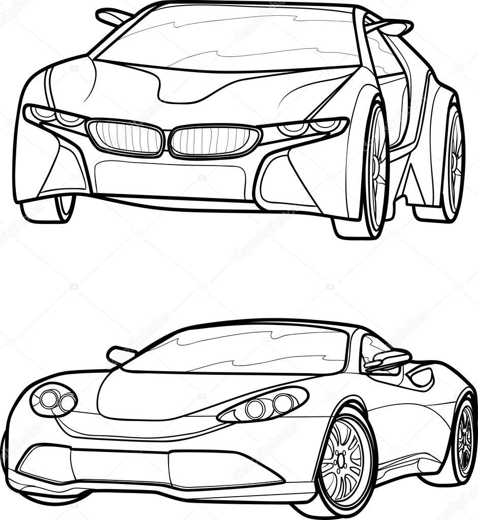 black outline vector car u2014 stock vector kopirin 33244819