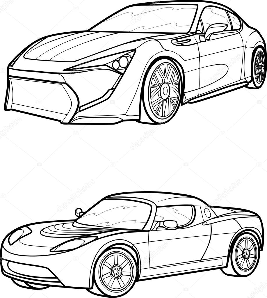Exceptional Black Outline Vector Car On White Background. U2014 Vector By Kopirin