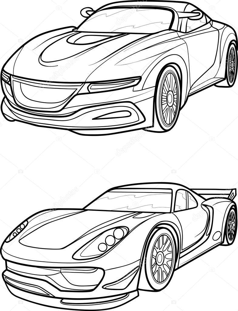 Outline drawing car. — Stock Vector © Kopirin #33244853