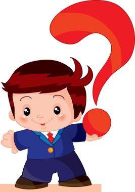 Boy holding a question mark