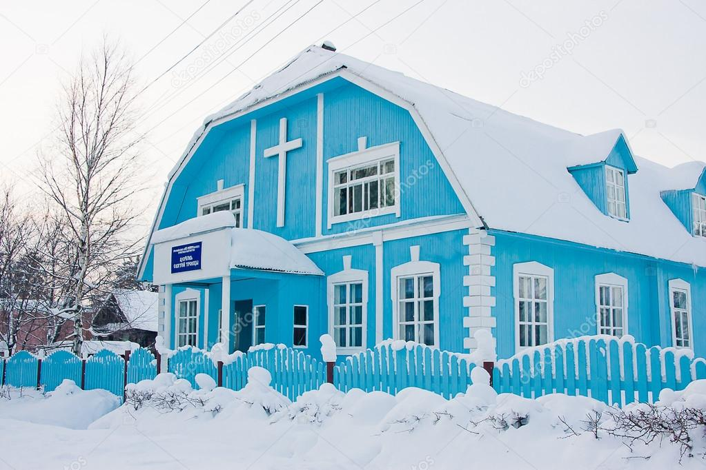 Wooden church of saint trinity in winter, city Perm, Russia