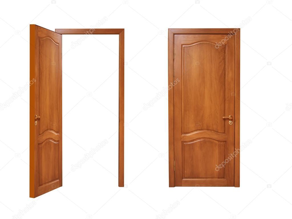 Dos Puertas, Abiertas Y Cerradas Sobre Un Fondo Blanco