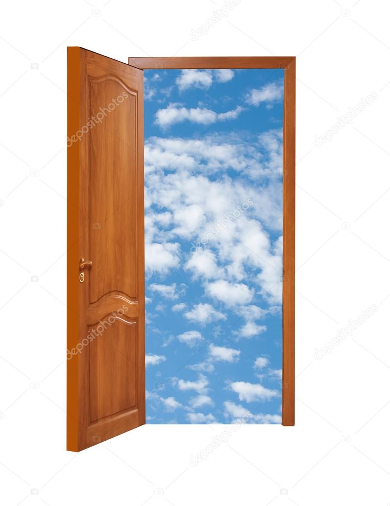 Geschlossene holztür  geschlossene Holztür mit der Art auf blauer Himmel mit Wolken ...