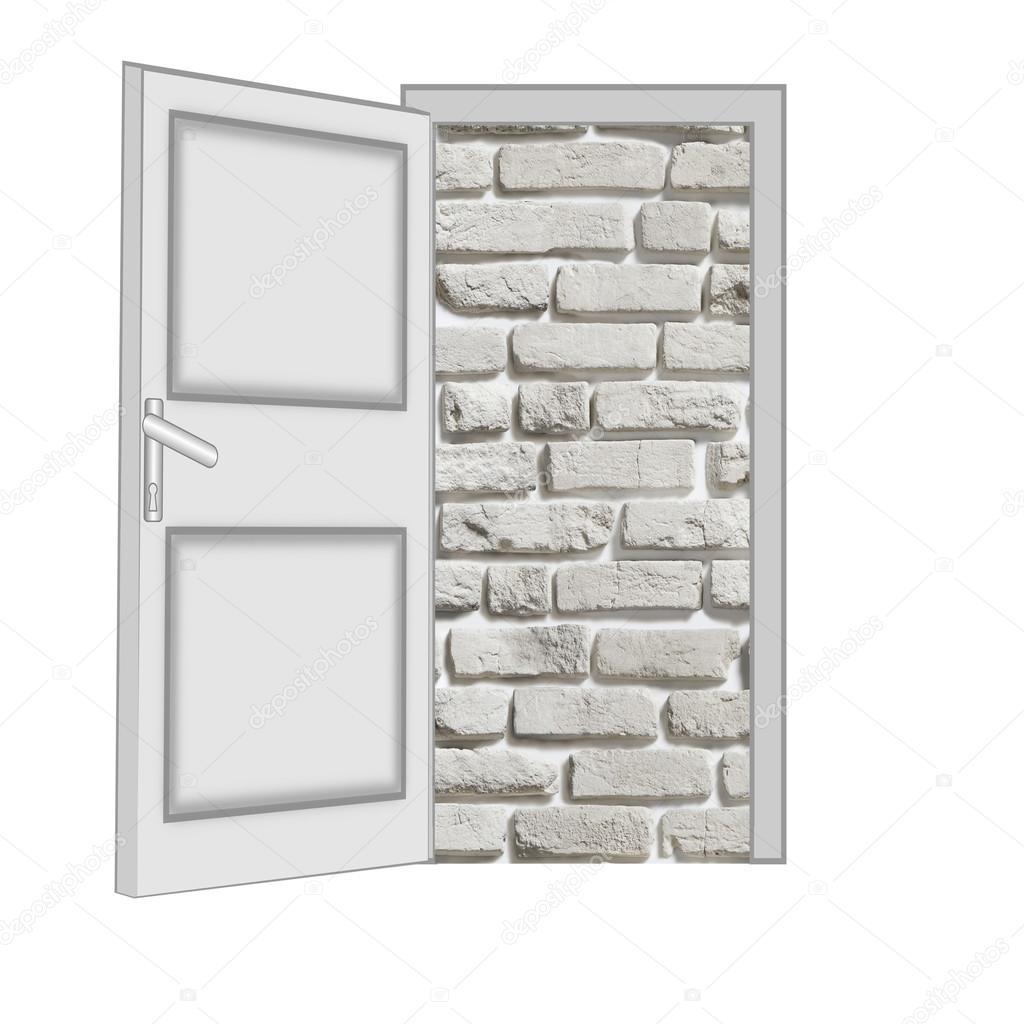 nicht geschlossene Tür mit einer Art auf eine Mauer — Stockfoto ...