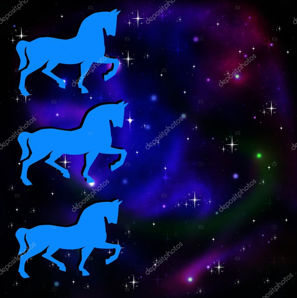 Silhouettes Of Three Horse On A Background A Star Galaxy Stock