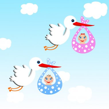 storks carry babies on a background blue sky